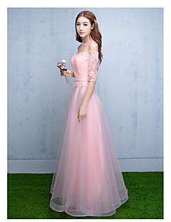 포멀 이브닝 드레스 A-라인 오프 더 숄더 바닥 길이 튤 와 레이스