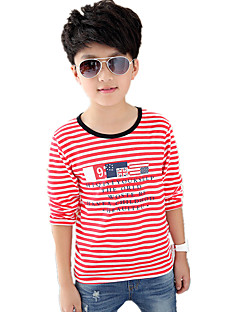Boy's Round Collar Casual/Daily Striped Cotton Long Sleeve Tee