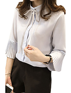 Women's Casual/Daily Simple Spring / Fall Shirt,Solid / Letter Shirt Collar Long Sleeve Blue / White Others Thin