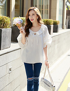 DABUWAWA Women's Casual / Vintage / Simple Loose Blouse,Solid Round Neck Lantern Sleeve