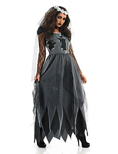 Cosplay Costumes/Party Costumes Ghost / Zombie Halloween / Carnival / Oktoberfest Black / Gray Vintage Terylene Dress / Headpiece