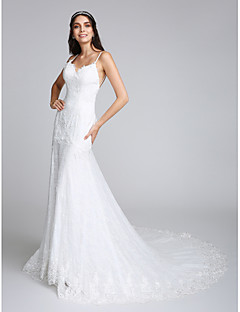 Lanting Bride Trumpet / Mermaid Wedding Dress Chapel Train Spaghetti Straps Lace with Appliques / Lace