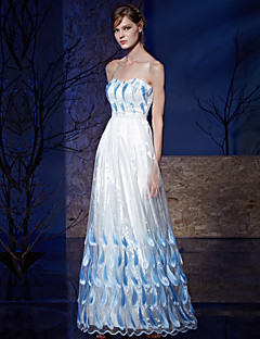 Formal Evening Dress A-line Strapless Floor-length Organza / Charmeuse with Beading / Embroidery