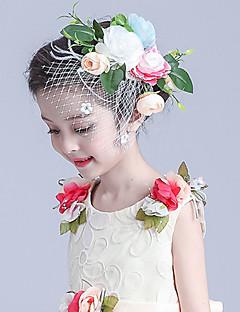 Blomflicka Tyg / Nät Headpiece-Bröllop / Speciellt Tillfälle Blommor / Fågelbur Slöjor 1 st.