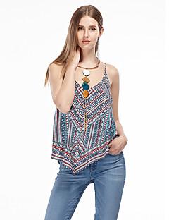 Vrouwen Eenvoudig Zomer Singlet,Uitgaan Geometrisch Bandje Mouwloos Blauw Polyester Dun