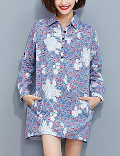 Mulheres Camisa Casual Moda de Rua Outono,Bordado Azul Algodão / Poliéster Colarinho de Camisa Manga Longa Média