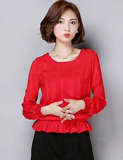 Γυναικεία Μπλούζα Καθημερινά Χαριτωμένο Μονόχρωμο,Μακρυμάνικο Στρογγυλή Λαιμόκοψη Καλοκαίρι Λεπτό ΠολυεστέραςΚόκκινο / Άσπρο / Μαύρο /