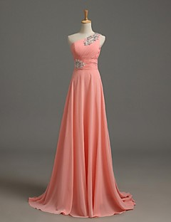 Sweep / Brush Train Chiffon Bridesmaid Dress A-line One Shoulder with Beading