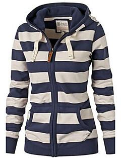 여성 짧은 후드 캐쥬얼/데일리 / 스포츠 스트리트 쉬크 줄무늬,블루 후디 긴 소매 면 가을 / 겨울 중간 약간의 신축성