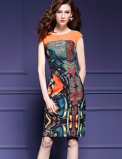 Women's Plus Size / Going out Sexy Bodycon Dress,Print Round Neck Knee-length Sleeveless Orange Polyester Summer / Fall