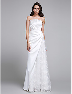 LAN TING BRIDE Trumpet / Mermaid Wedding Dress Simply Sublime Floor-length Strapless Lace Satin with Lace