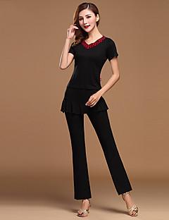 Latin Dance Outfits Women's Performance Cotton / Tulle / Modal Draped 2 Pieces Black / Fuchsia / Burgundy Top / Pants