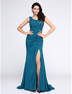 TS Couture Formal Evening Dress - Furcal Trumpet / Mermaid V-neck Sweep / Brush Train Chiffon withAppliques Crystal Detailing Lace Side