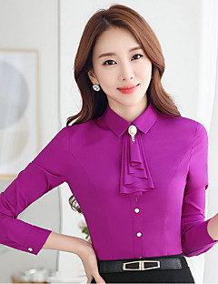 Women's Work Simple Fall Shirt,Solid Turtleneck Long Sleeve White / Black / Purple Polyester Medium