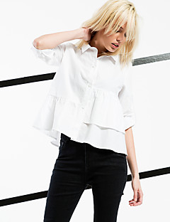 ARNE® Women's Asymmetrical Shirt Collar Long Sleeve Shirt & Blouse White-6236