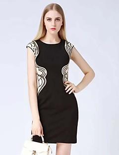 klimeda kvinders simple print Bodycon kjole, rund hals mini polyester