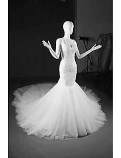 Trumpet / Mermaid Wedding Dress Cathedral Train V-neck Tulle with Appliques / Beading