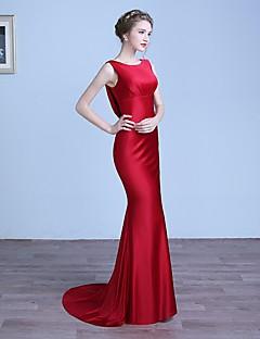 Evento Formal Vestido Sereia Decote em U Cauda Escova Cetim com Drapeado Lateral