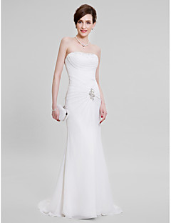 Lanting Bride Trumpet / Mermaid Mother of the Bride Dress Sweep / Brush Train Sleeveless Chiffon withBeading / Crystal Detailing / Criss