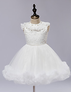 Ball Gown Knee-length Flower Girl Dress - Lace / Satin / Tulle Sleeveless Jewel with Lace / Sash / Ribbon