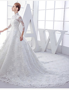 A-line Wedding Dress Chapel Train High Neck Lace with Beading / Ruffle