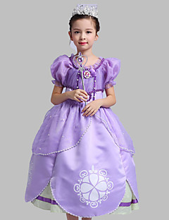 Ball Gown Tea-length Flower Girl Dress - Satin / Tulle Short Sleeve Scoop with Pattern / Print / Pearl Detailing