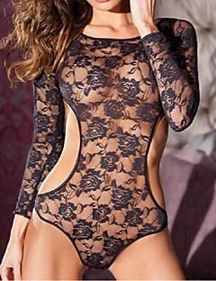 Damen Besonders sexy Nachtwäsche,Sexy / Spitze einfarbig-Spitze / Polyester Mittelmäßig Schwarz Damen