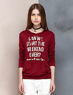 Dame Simpel I-byen-tøj Normal Hættetrøjer Bogstaver,Rød Hætte Langærmet Rayon / Spandex Forår / Efterår Medium