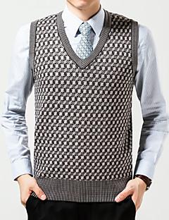 Men's Plaids Casual Vest,Wool Sleeveless Beige / Gray