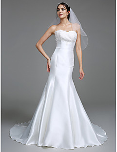 LAN TING BRIDE Trumpet / Mermaid Wedding Dress Simply Sublime Court Train Sweetheart Satin with Appliques