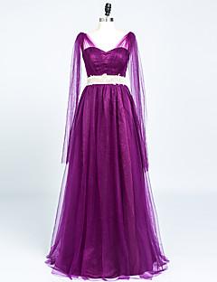 Formal Evening Dress A-line V-neck Floor-length Satin / Tulle with Crystal Detailing / Pleats