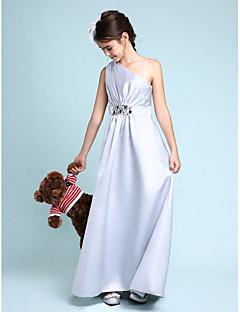 Lanting Bride Tot de grond Satijn Junior bruidsmeisjesjurk Strak/kolom Eén-schouder met Kralen / Zijdrapering