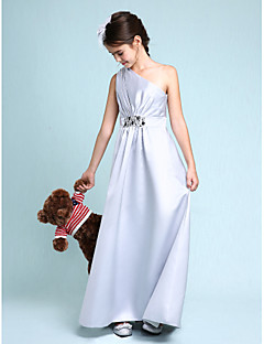 Lanting Bride Floor-length Satin Junior Bridesmaid Dress Sheath / Column One Shoulder with Beading / Side Draping
