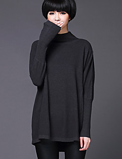 Women's Casual/Daily / Holiday Simple / Sophisticated Regular Pullover,Solid / Houndstooth Stand Long Sleeve