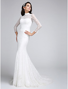 LAN TING BRIDE Trumpet / Mermaid Wedding Dress See-Through Court Train High Neck Lace with Lace