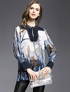 JOJO HANS  Women's Going out Vintage Spring Shirt,Print Round Neck Long Sleeve Blue Silk Opaque