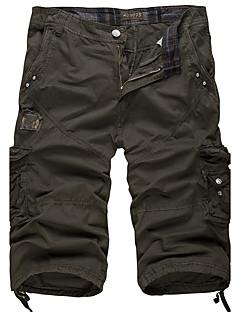 Herre Vintage Enkel Aktiv Uelastisk Shorts Bukser,Løstsittende Mellomhøyt liv Ensfarget