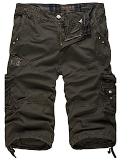 Herrer Vintage Enkel Aktiv Uelastisk Løstsiddende Shorts Bukser,Alm. taljede Ensfarvet