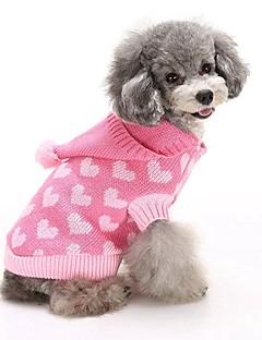 Gatos Cães Súeters Camisola com Capuz Roupas para Cães Inverno Corações Fofo Da Moda Mantenha Quente Azul Rosa claro