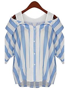 Vrouwen Street chic Zomer Overhemd,Grote maten Gestreept Schouderafhangend Halflange mouw Blauw / Grijs Overige Medium