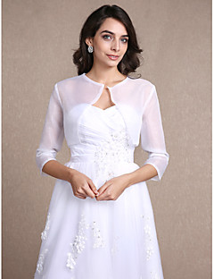 Women's Wrap Shrugs 3/4-Length Sleeve Organza White Wedding Party/Evening Casual Scoop 30cm Draped Open Front