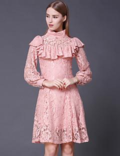 stephanie Frauen gehen vintage dresssolid Rollkragen über Knie lange Ärmel rosa Baumwolle / Rayon aus