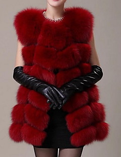 Women's Casual/Daily Simple Fur Coat,Solid / Rainbow Round Neck Sleeveless Fall Red / White / Black Faux Fur Medium