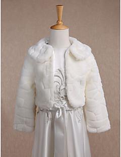 아동 랩 코트 / 재킷 긴 소매 모조 모피 아이보리 웨딩 파티/이브닝 캐쥬얼 폴드 오버 칼라 34cm 무늬 오픈 프론트