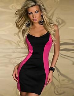 vrouwen diepe V mini jurk, katoen / spandex roze / wit sexy / party