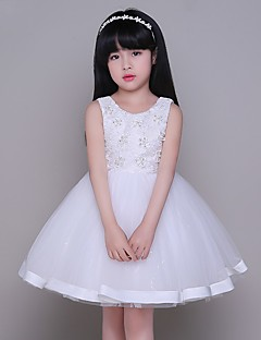 Ball Gown Knee-length Flower Girl Dress - Tulle Sleeveless Jewel with Lace