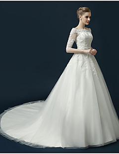 A-line Wedding Dress Court Train Bateau Tulle with Appliques / Beading / Crystal / Sash / Ribbon