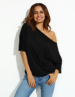 Women's Solid Sexy Loose Off Shoulder T-shirt,Boat Neck Short Sleeve