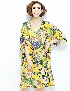 婦人向け ストリートファッション カジュアル/普段着 ルーズ ドレス,フラワー Vネック ミディ 半袖 イエロー ポリエステル オールシーズン