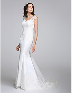 LAN TING BRIDE Trumpet / Mermaid Wedding Dress See-Through Court Train V-neck Satin with Appliques Button